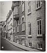 Black And White Old Style Photo Of Old Quebec City Acrylic Print