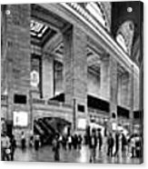 Black And White Pano Of Grand Central Station - Nyc Acrylic Print by David Smith