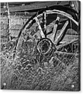 Black And White Photo Of An Old Broken Wheel Of A Farm Wagon Acrylic Print