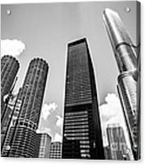 Black And White Photo Of Chicago Skyscrapers Acrylic Print