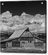 Black And White Photo Of The T.a. Moulton Barn In The Grand Tetons Acrylic Print