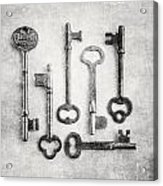 Black And White Photograph Of Vintage Skeleton Keys For Rustic Home Decor Acrylic Print