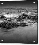 Black And White Photograph Of Waves Crashing On The Shore At Sand Beach Acrylic Print