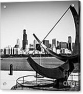 Black And White Picture Of Adler Planetarium Sundial Acrylic Print by Paul Velgos