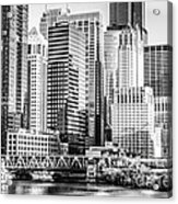 Black And White Picture Of Chicago At Lake Street Bridge Acrylic Print