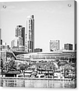 Black And White Picture Of Chicago Skyline Acrylic Print by Paul Velgos