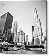 Black And White Picture Of Downtown Chicago Acrylic Print
