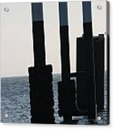 Black And White Poles On Water Acrylic Print