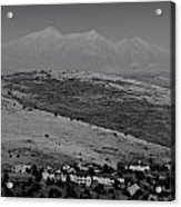 Black And White San Francisco Peaks Over Glassford Hill Acrylic Print