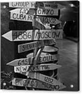 Black And White World Directions Acrylic Print