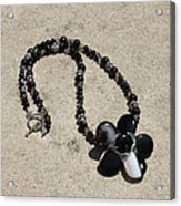 Black Banded Onyx Wire Wrapped Flower Pendant Necklace 3634 Acrylic Print