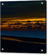 Black Beach With Orange Sky Acrylic Print