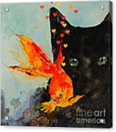 Black Cat And The Goldfish Acrylic Print by Paul Lovering