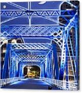 Black Cat Blue Bridge Acrylic Print