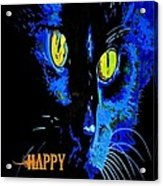 Black Cat Portrait With Happy Halloween Greeting  Acrylic Print