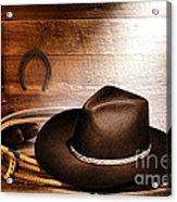 Black Felt Cowboy Hat Acrylic Print