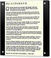 Black Frame Original Desiderata Poem Acrylic Print