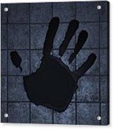 Black Hand Cyan Acrylic Print