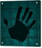 Black Hand Turquoise Acrylic Print