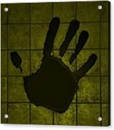 Black Hand Yellow Acrylic Print