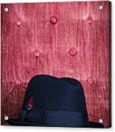 Black Hat On Red Velvet Chair Acrylic Print