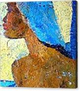 Black Lady With Blue Head-dress Acrylic Print