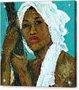 Black Lady With White Head-dress Acrylic Print