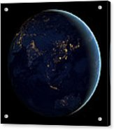 Black Marble - Asia And Australia City Lights Acrylic Print
