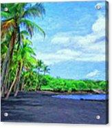 Black Sand Beach At Punaluu Acrylic Print