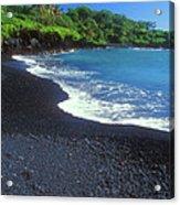 Black Sand Beach Hana Maui Hawaii Acrylic Print