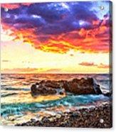 Black Sand Sunset Acrylic Print