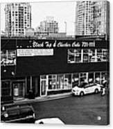 black top and checker cabs office Vancouver BC Canada Acrylic Print by Joe Fox