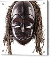 Black Tribal Face Mask On Isolated On White Acrylic Print