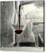 Black White And Red Wine Acrylic Print