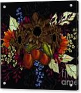 Black With Flowers And Fruit Acrylic Print