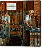 Blacksmith And Apprentice Impasto Acrylic Print