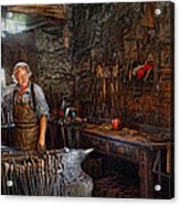 Blacksmith - Working The Forge  Acrylic Print by Mike Savad