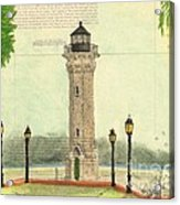 Blackwell Island Lighthouse Ny Chart Map Art Acrylic Print