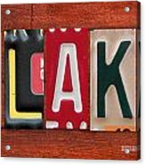 Blake License Plate Name Sign Fun Kid Room Decor Acrylic Print