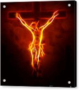 Blazing Jesus Crucifixion Acrylic Print by Pamela Johnson