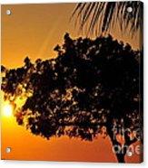 Blazing Red Sea Sunset Acrylic Print by George Paris