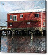 Blended Oregon Dock And Structure Acrylic Print by Ron Hoggard