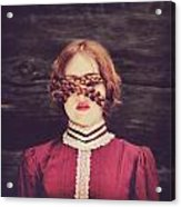 Blinded Surreal Portrait In Burgundy With Braids Acrylic Print