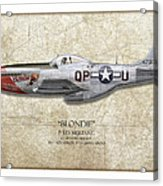 Blondie P-51d Mustang - Map Background Acrylic Print