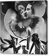 Bloomin' Kiss Vintage Art Bw Acrylic Print
