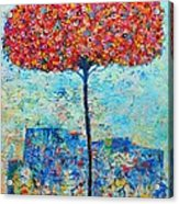 Blooming Beyond Known Skies - The Tree Of Life - Abstract Contemporary Original Oil Painting Acrylic Print by Ana Maria Edulescu