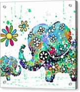 Blooming Elephants Acrylic Print