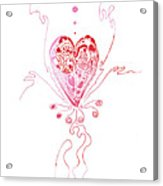 Blossoming Love Pink And Red Valentine Acrylic Print
