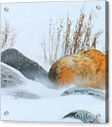 Blowing Snow And Rocks Acrylic Print