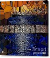 Blue And Gold Stained Abstract Acrylic Print